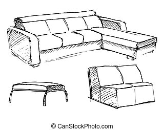 Sofa vector sketch icon isolated on background.