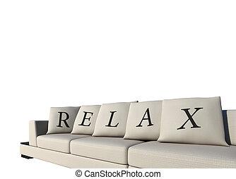 sofa, verslappen, tekst