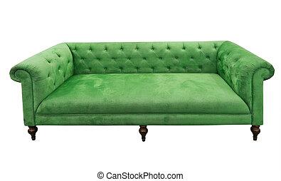 sofa, vert, isolé