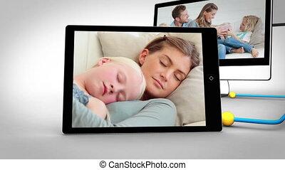 sofa, vidéos, familles