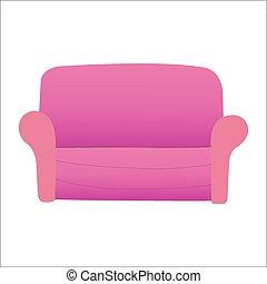 sofa, weiß rot, hintergrund