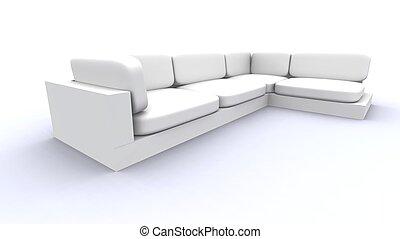 sofa, weißes, -, breit