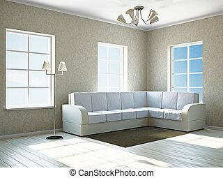 sofa, weißes, livingroom