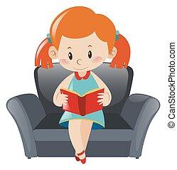 sofa, weinig; niet zo(veel), boek, girl lezen