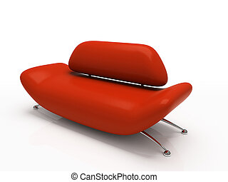 sofa, wit rood, achtergrond