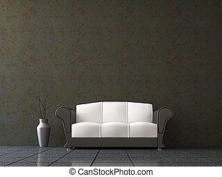 Sofa with a vase near the wall