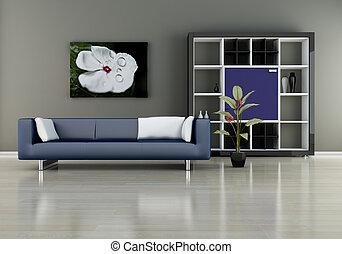 Sofa with bookshelf - modern interior (3D render) - Sofa...