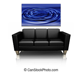 Sofa with canvas art - 3D render of a modern sofa with...
