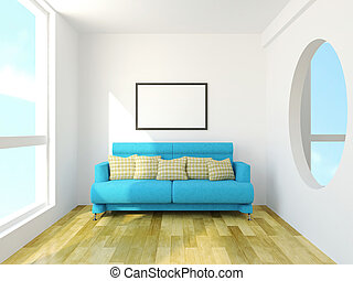 Sofa with cushions near the window