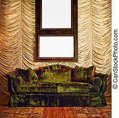 Sofa with draped wall and antique wooden frame