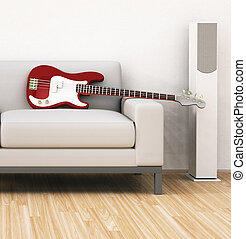 sofa with guitar - An illustration of a sofa with a guitar