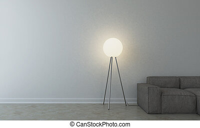 Sofa with lamp in empty room