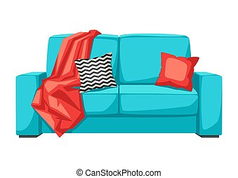 Sofa with plaid and pillow. Interior and furniture...