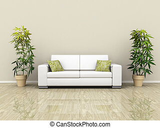 An illustration of a white sofa with plants