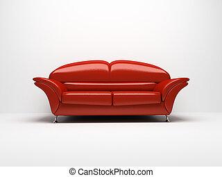 sofa, witte , vrijstaand, achtergrond, rood