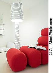 sofa, wnętrze, projektowany, czysty, wewnętrzny, czerwony