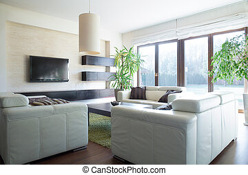 sofa, wygodny, pokój, posiedzenie