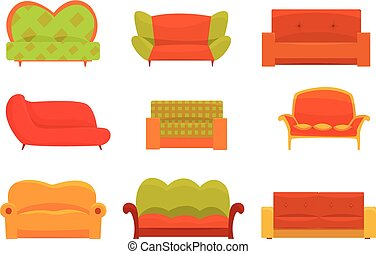 Sofas and armchairs, Interior elements. Comfortable couch...