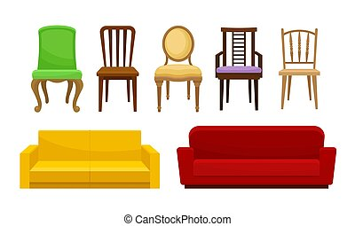 Sofas and Chairs Collection, Comfortable Home Furniture, Interior Design Elements Vector Illustration