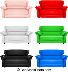 Sofas - A set of multi-colored models of sofas. Illustration...