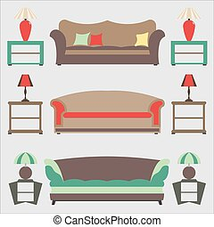 Sofas Set. Flat Vector Illustration. Side Table. Lable Lamp