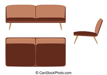 Sofas Set. Furniture for Your Interior Design. Flat Vector Illustration. Top, Front and Side View. Brown Color
