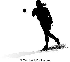 sofbol, cántaro, hembra, silouette