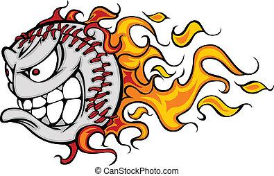 sofbol, llameante, cara, beisball, v, o