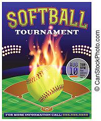 sofbol, torneo, ilustración