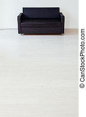 soffa, kontor, svart, inre, rum, tom, vit