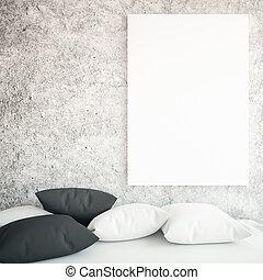 soffa, och, whiteboard