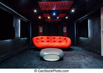 soffa, röd, källarvåning