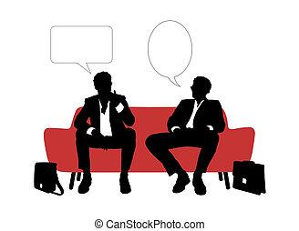 soffa, två, sittande, affärsmän, talande, röd