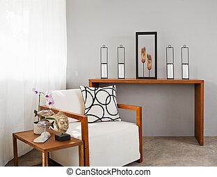 soffa, vit, komfortabel, säte