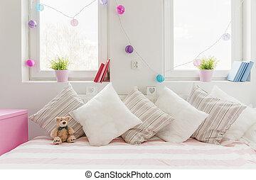 soffa, vit, komfortabel