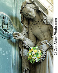 sofferenza, donna, con, fiori