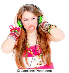 soffiando, gengiva, impaurito, ascoltare musica, ragazza, bolla