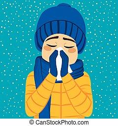 soffiando, influenza, inverno, uomo, naso