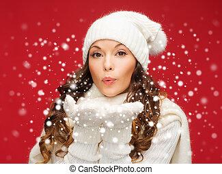 soffiando, inverno, palme, donna, felice, vestiti