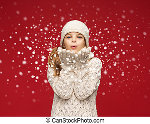 soffiando, inverno, palme, ragazza, felice, vestiti