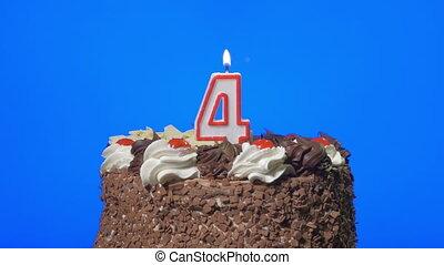 soffiando, numero 4, candela, su, uno, torta