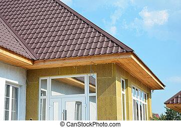 soffit, ajouté, toiture, maison, bâtiment, efficiency., ...