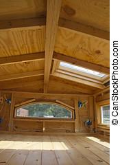 soffitta, casa, cablaggio, tetto, windoews, lucernario, piccolo