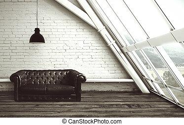 soffitta, con, finestra
