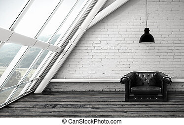 soffitta, con, sedia
