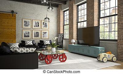 soffitta, divano, moderno, interpretazione, 2, disegno, interno, nero, 3d