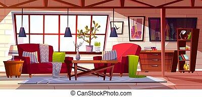 soffitta, illustrazione, salotto, vettore, interno, stanza