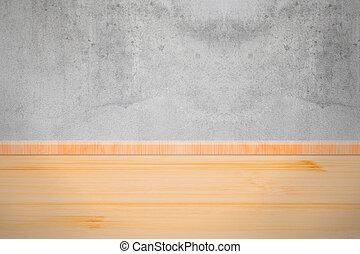 soffitta, parete, stanza, con, pavimento legno, struttura, e, fondo.