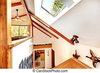 soffitto, ceppo, velux, casa, vista finestra, cabina, soffitta