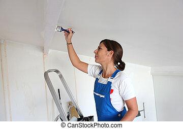 soffitto, donna, pittura
